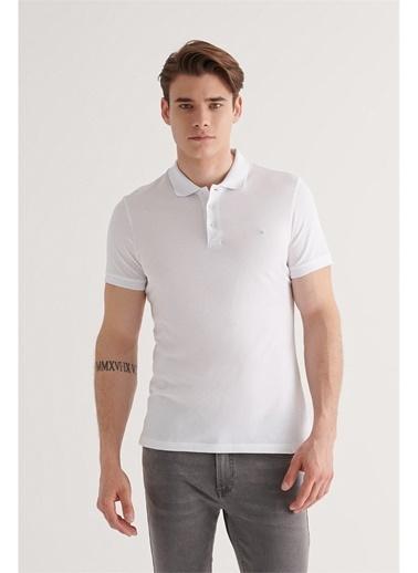 Avva Erkek  Polo Yaka Düz Tişört E001004.05 Beyaz